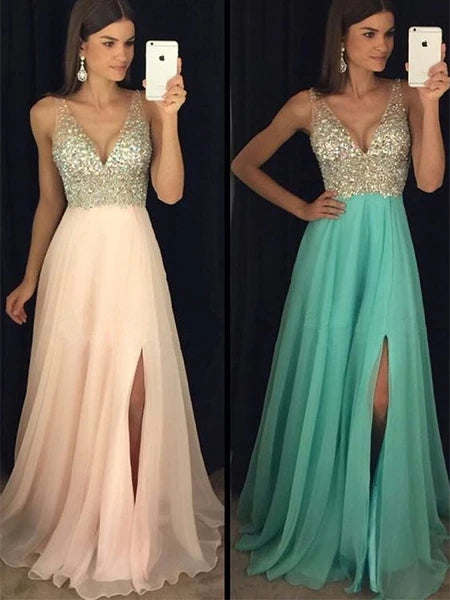 Chiffon and Lace Prom Dresses Banquet Gowns Evening Gowns with Slit MPD357