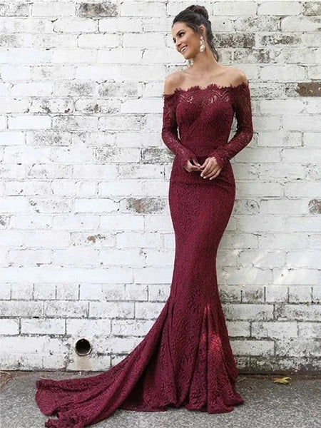 Lace Mermaid Prom Dresses Banquet Gowns Evening Gowns with Long Sleeves MPD375