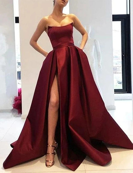 Satin Prom Dresses Banquet Gowns Evening Gowns with Slit MPD419
