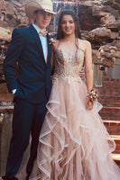 A Line Tulle and Lace Prom Dresses Banquet Dresses Evening Dresses MPD138