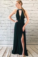 Halter Chiffon Prom Dresses Formal Gowns Banquet Gowns MPD140