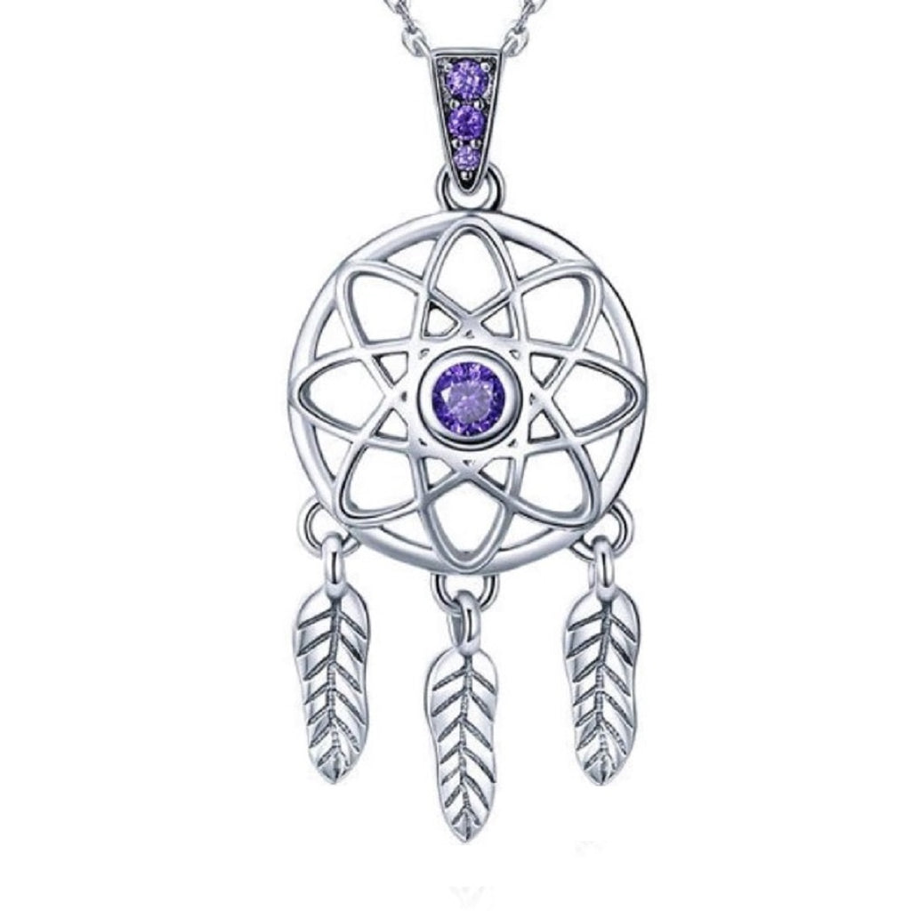 Colier Argint Dream Catcher - Purple