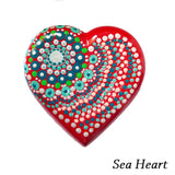 Mandale pictate manual pe piatra - Model Sea Heart