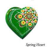 Mandale pictate manual pe piatra - Model Spring Heart
