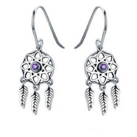 Cercei Argint Dream Catcher - Purple