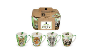 Tropical animals set van 4 mugs