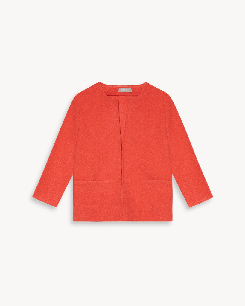 Damen Cardigan Jacke Elegant 3/4 Arm Rot Orange