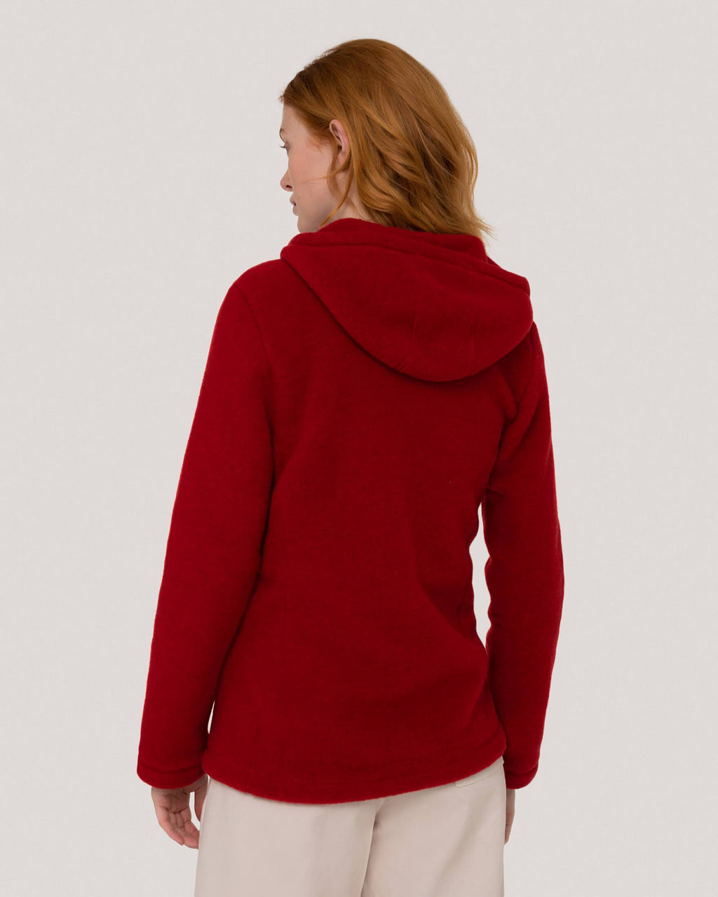 variant_1 | EN Red Jacket with Zipper Virgin Wool Women ENGEL | DE Rote Jacke mit Reißverschluss Damen ENGEL