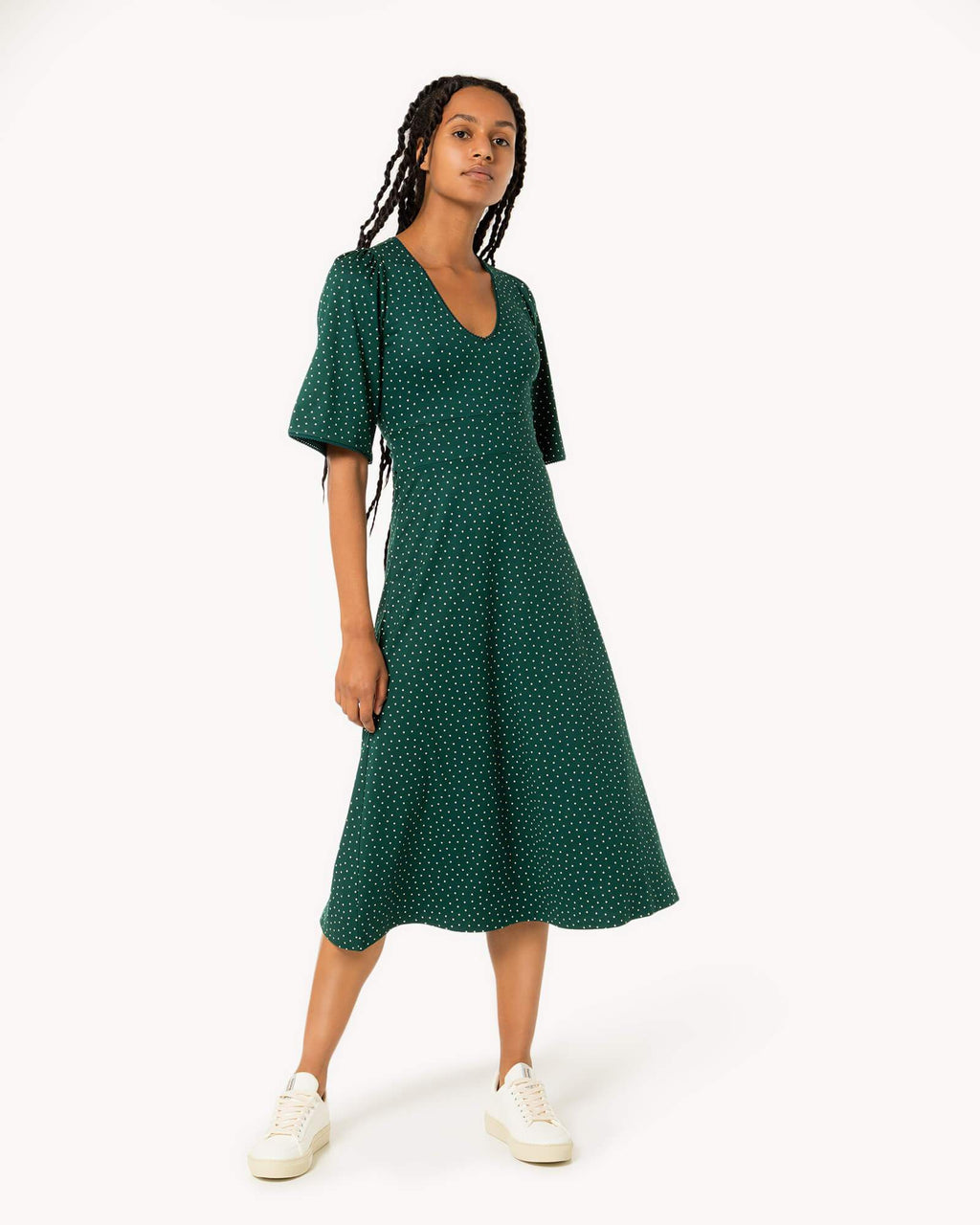 variant_1 | EN Green Dots Dress Women | DE Grünes Kleid Gepunktet Damen