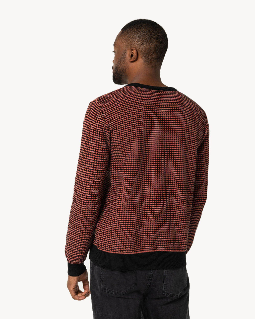 variant_1 | EN Men Knit Jumper Red Black Loose | DE Herren Strickpullover Rot Schwarz