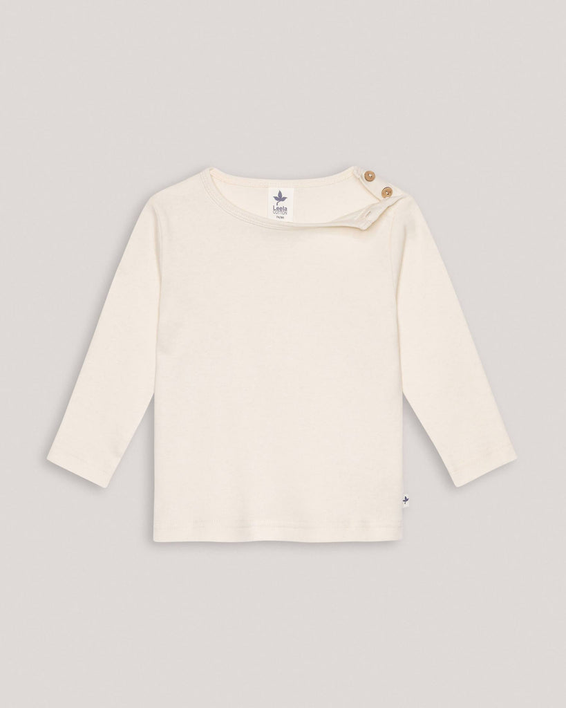 Organic White basic longsleeve sweater with buttons on shoulder for babies