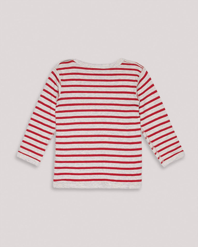 Organic Red Grey striped reversible Longsleeve for Kids