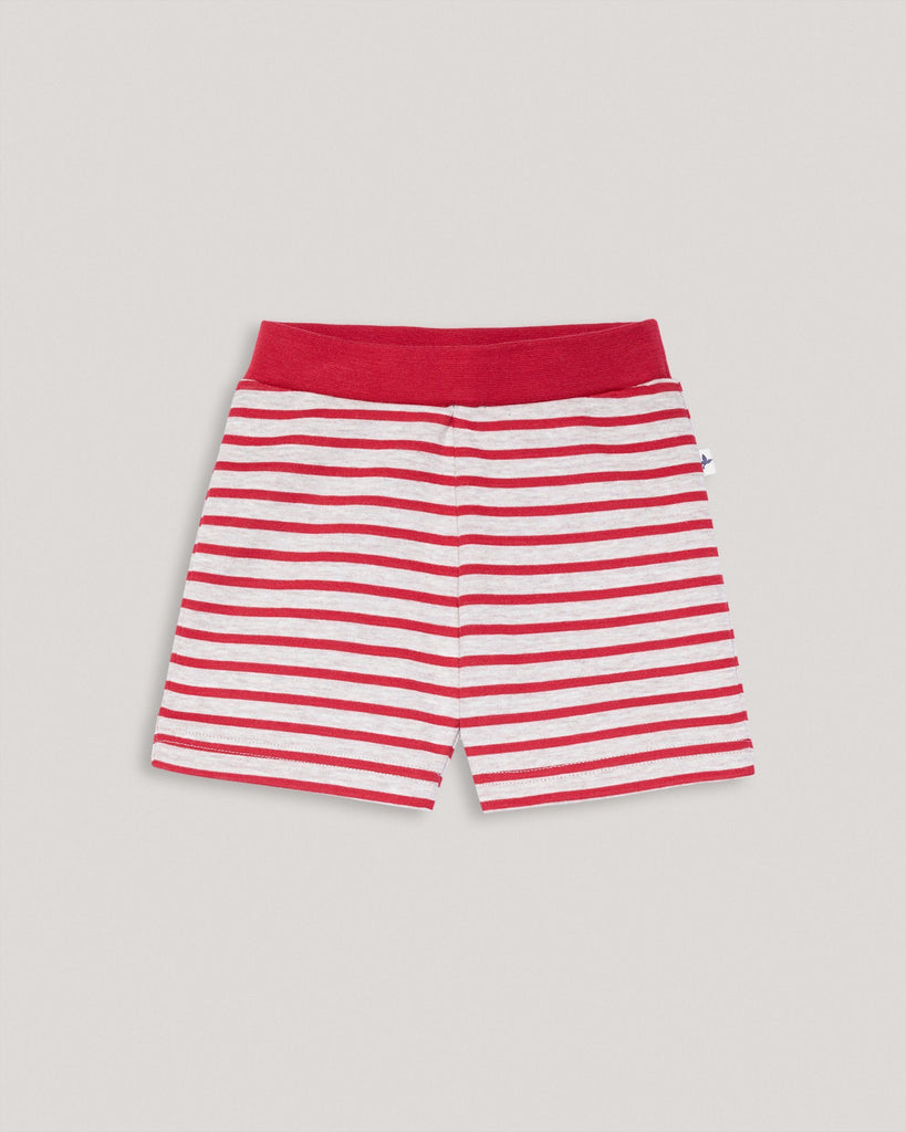 Organic Shorts red white striped for kids and babies