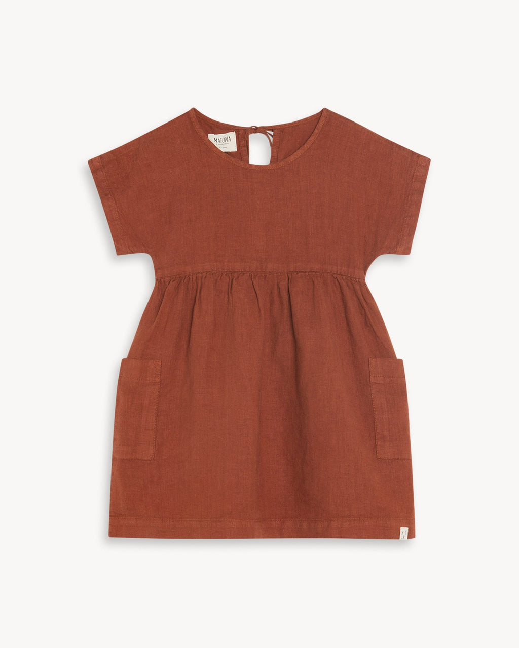 variant_1 | EN Dress Red Brown with Pockets Kids MATONA | DE Kleid Rot Braun mit Taschen Kinder MATONA