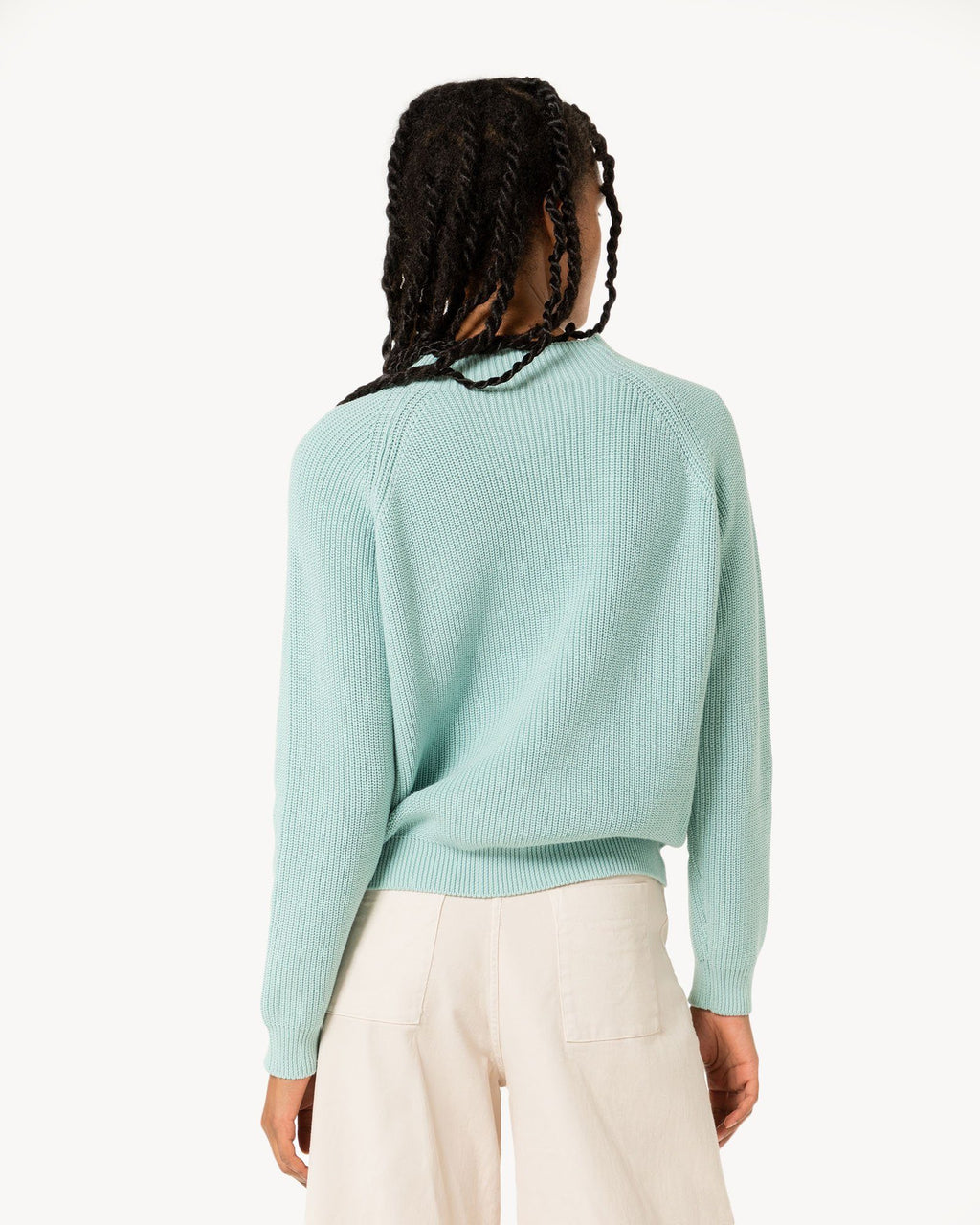 variant_1 | EN Knitted Women Sweater Turquise Turquoise polo neck | DE Damen Strickpullover Türkis