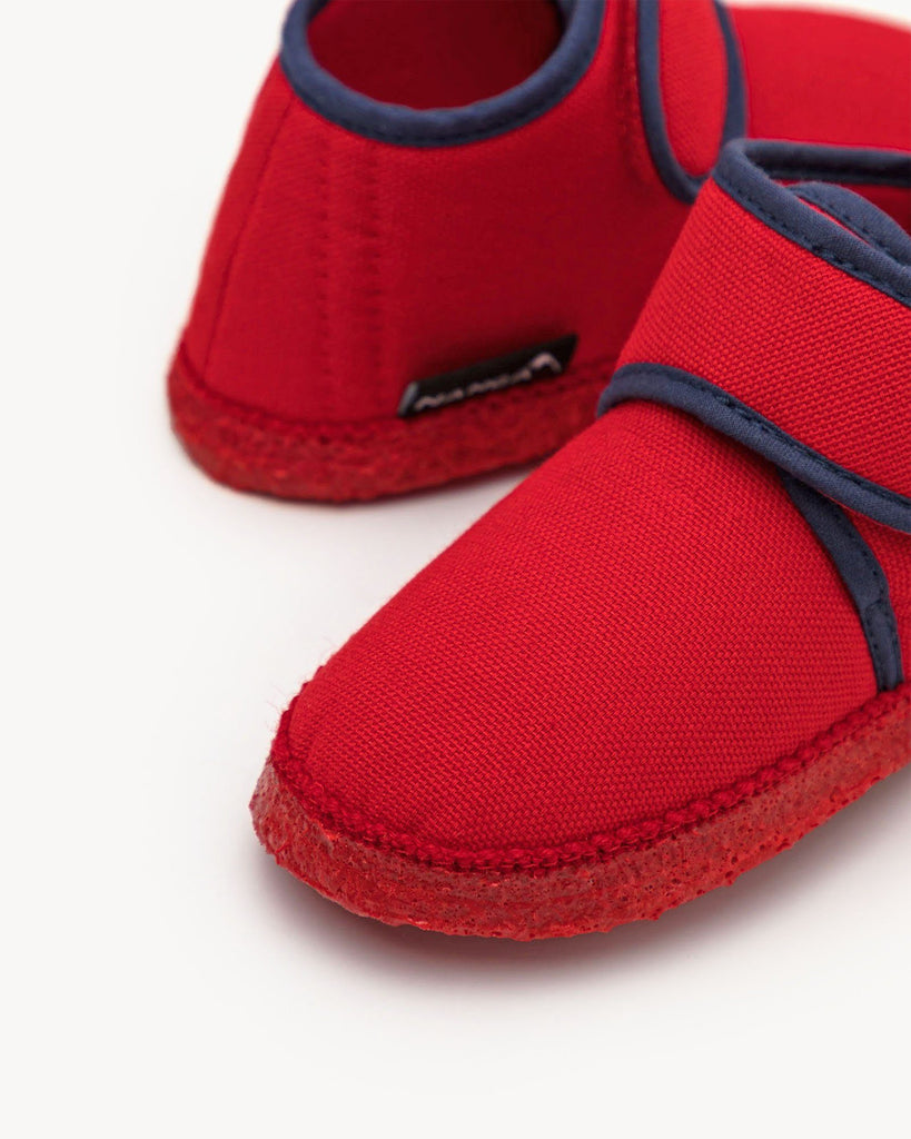 Red Home Slipper Kids with Velcro Fastener NANGA