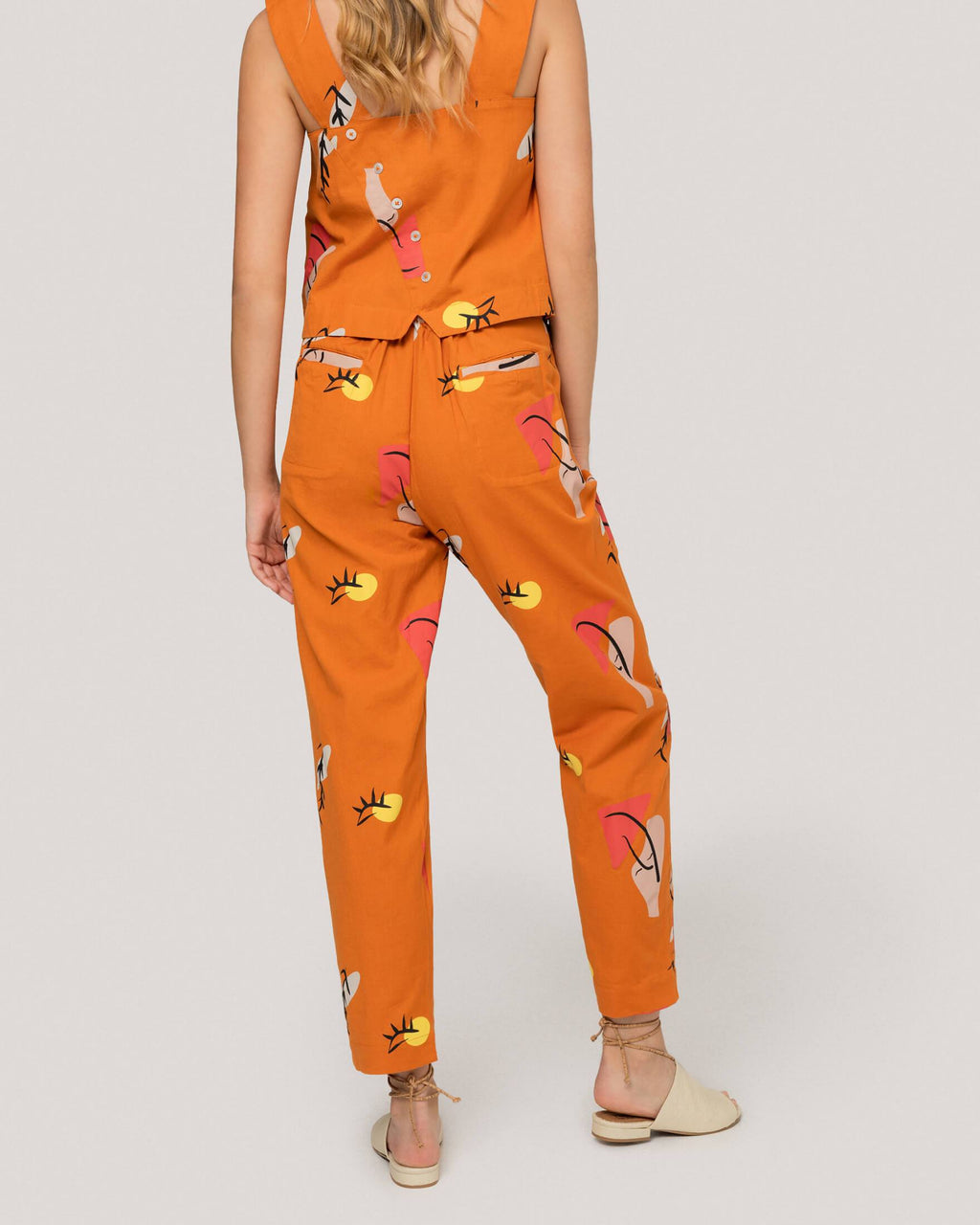 variant_1 | EN Orange Pants Print Summer Women Suite13 | DE Orangene Sommerhose Hose Damen Suite13