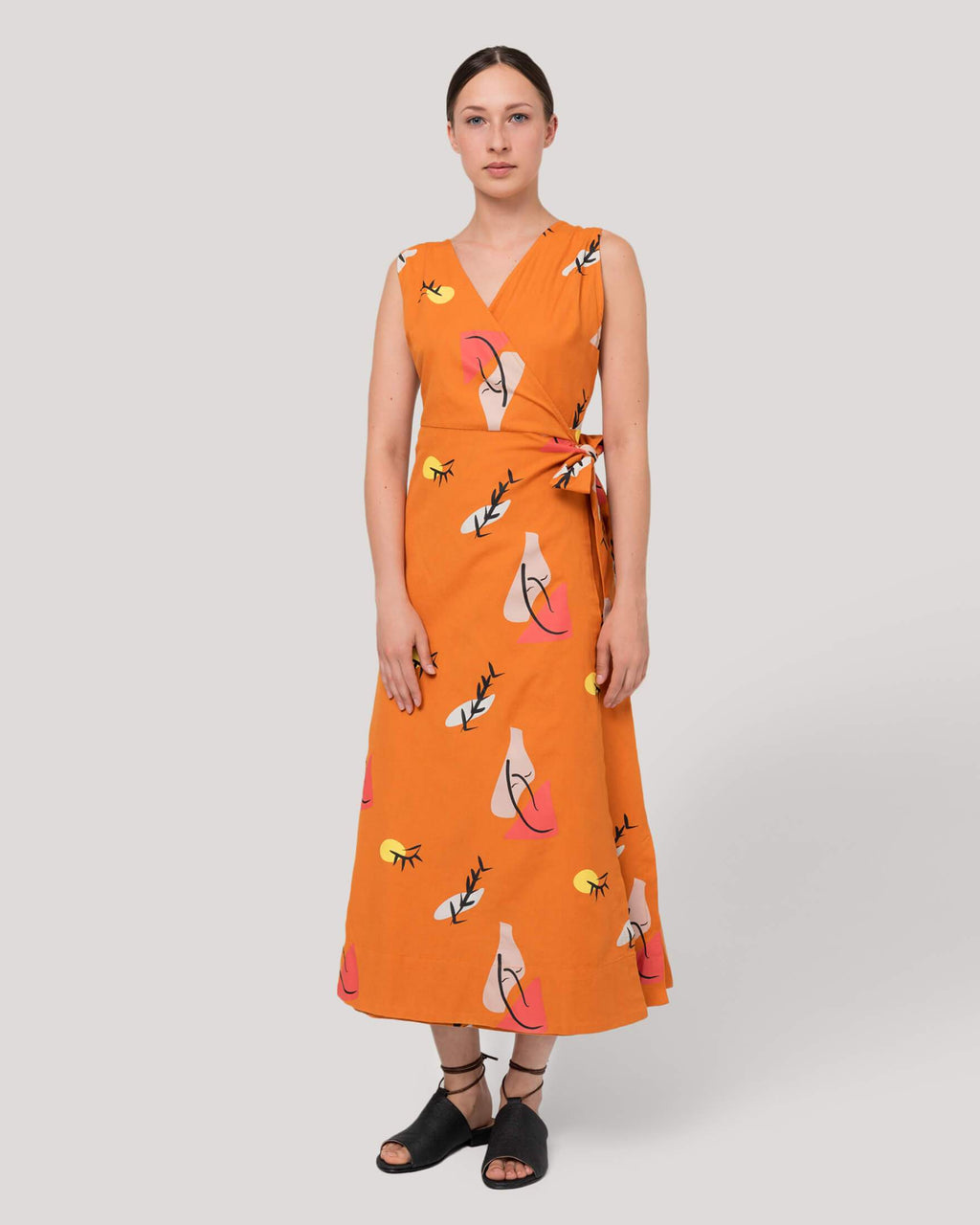 variant_1 | EN Orange Dress with Print Summer Women Suite13 | DE Orangenes Kleid Lang mit Print Damen Suite13