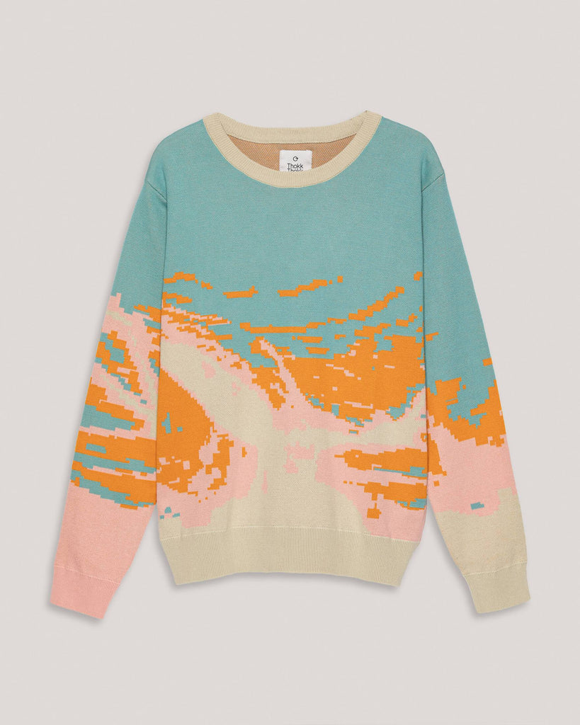 Pullover knit colorful turquoise pink orange Women ThokkThokk