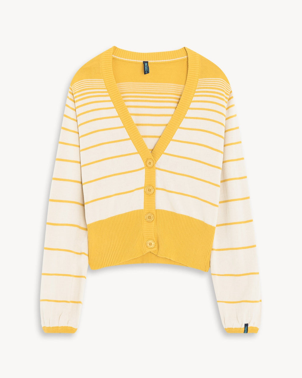 variant_1 | EN Jacket Yellow with Stripes Women Tranquillo | DE Strickjacke mit Knöpfen Gelb Gestreift Damen Tranquillo