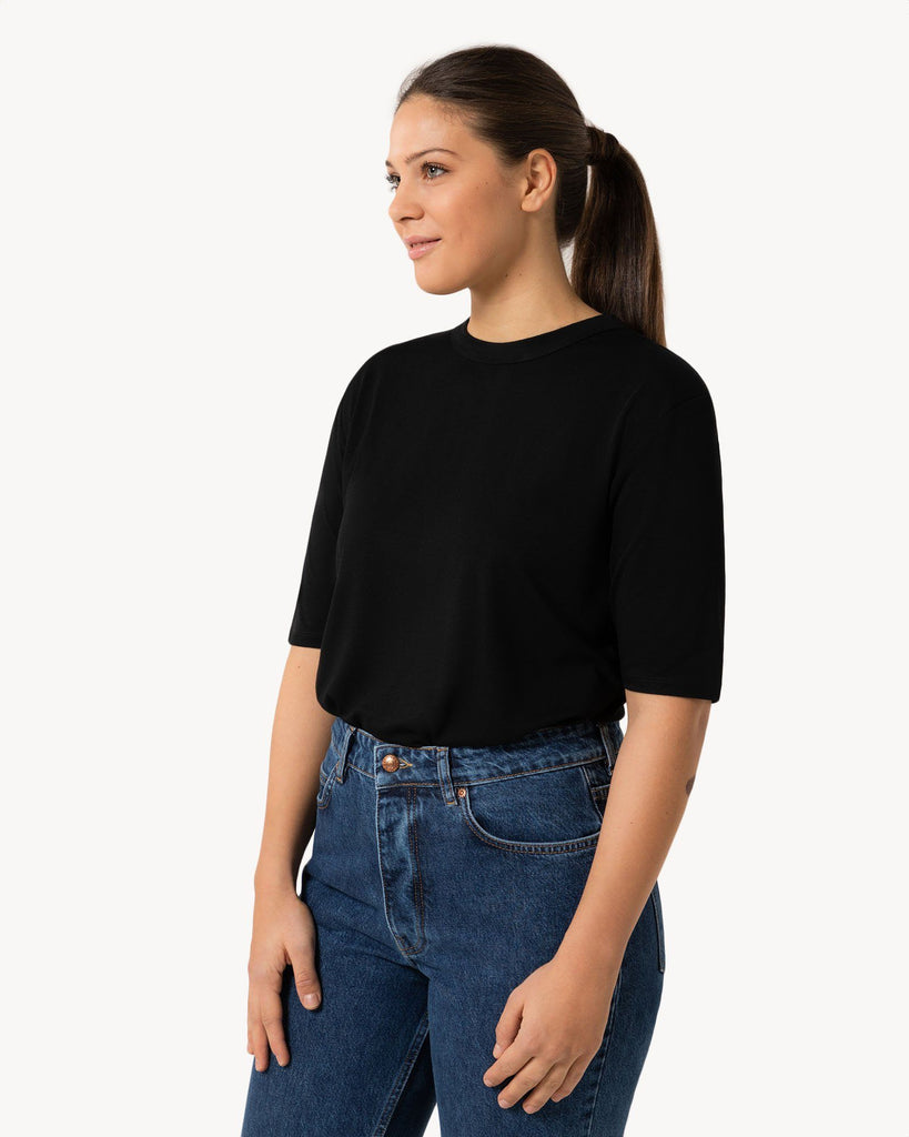 Black Shirt with shoulder patches Women won hundred