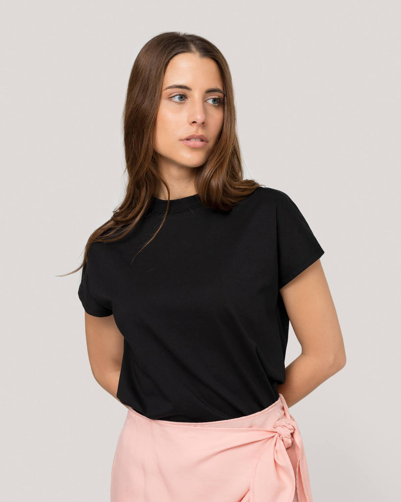 T-Shirt Basic Schwarz Damen won hundred