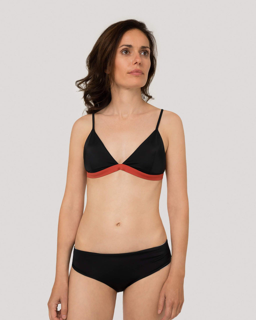 variant_1 | EN Bikini Top Triangle Black Orange Women woodlike | DE Bikini Top Triangel Schwarz Damen woodlike