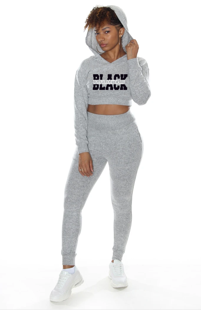 2 Piece Ladies Cropped Jogger Set Unapologetically Black