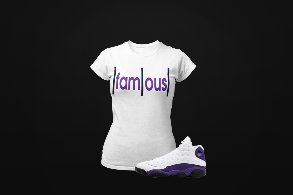 Ladies Famous T-Shirt to match Jordan Retro 13 Lakers