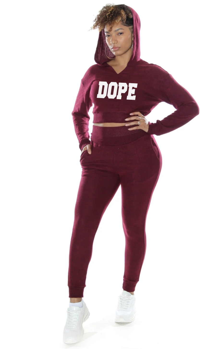 2 Piece Ladies Cropped Jogger Set Dope
