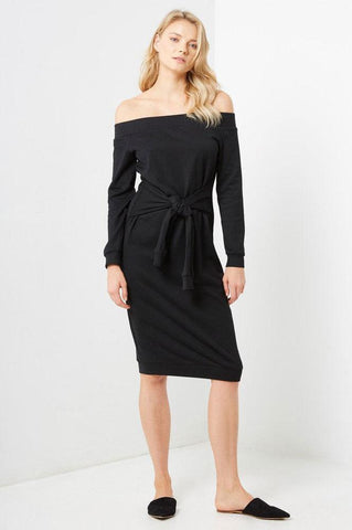 women's black long sleeve off the shoulder tie front sweatshirt dress. Casual LBD outfti for autumn fall.