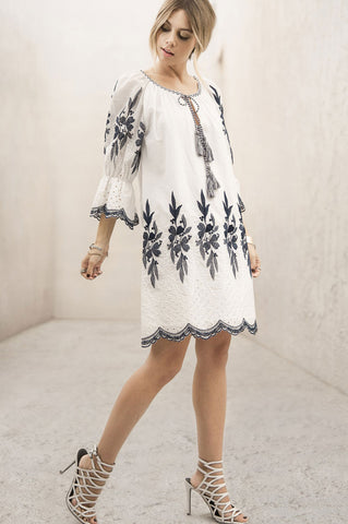 Women's 3/4 loose fit white mini tunic casual party dress with blue embroidery detail