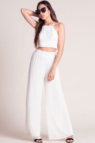 Women's cut summer outfit ideas: ivory white two piece outfit matching pants and crop to co-ords set.