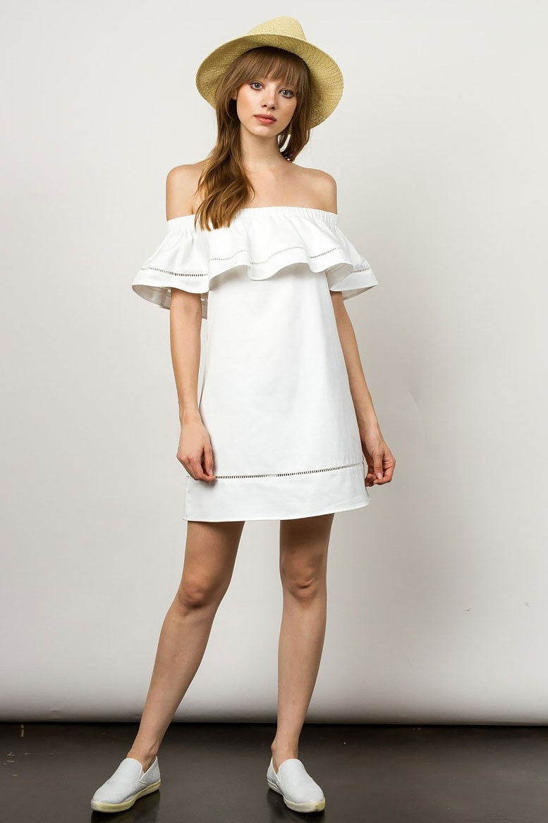 Women's white off the shoulder short sleeves ruffle casual mini short dress. Cute summer sundress