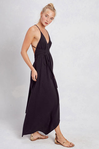 Women's sleeveless black halter neck dress LBD maxi dress