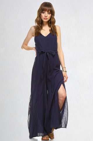 Women's Sleeveless v-neck wide leg casual linen jumpsuit. Summer vacation outfit. Navy Blue