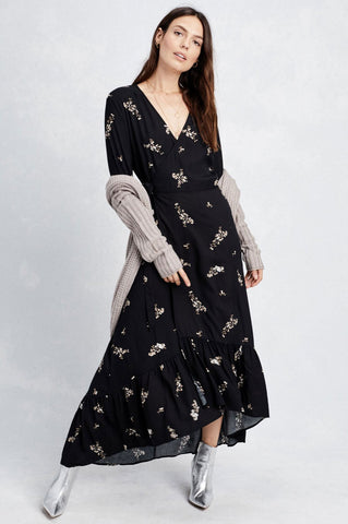 women's 3/4 sleeve black floral print wrap maxi dress for going out outfit idea