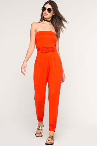 Womens casual red jersey strapless jumpsuit