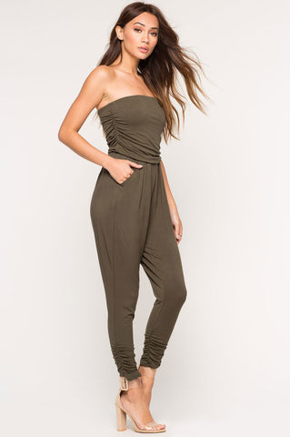 Womens casual olive green jersey strapless jumpsuit