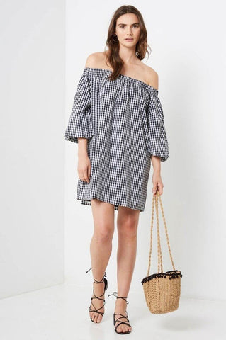 Women's off the shoulder black and white gingham plaid mini shift dress with sleeves