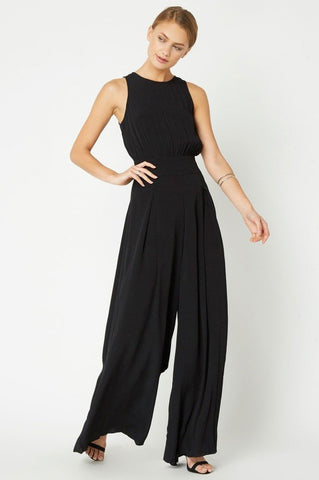 Women's Sleeveless wide leg palazzo jumpsuit for going out. Black
