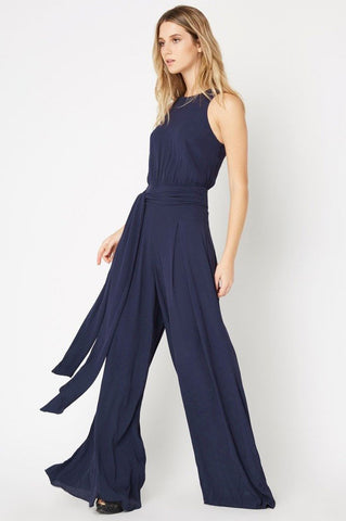 Women's Sleeveless wide leg palazzo jumpsuit for going out. Navy blue