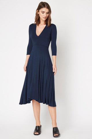 Women's 3/4 long sleeve v-neck navy blue fit and flre a-line midi jersey dress