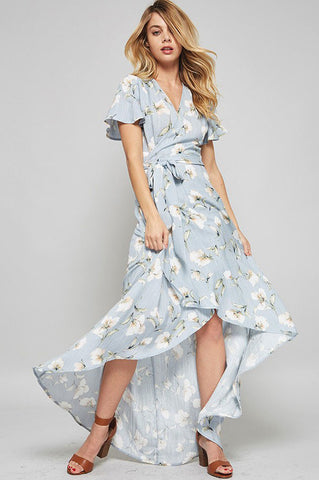 Women's Light pastel green floral print long wrap maxi dress with flutter sleeves. Cute summer outfit similar to Pax Wrap Dress Devlin