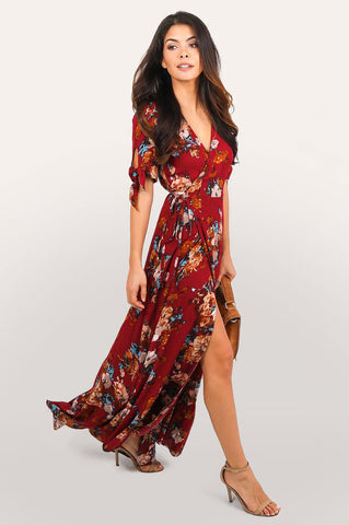 Women's red floral print short sleeve v-neck beach house wrap maxi dress with ruffle hem.