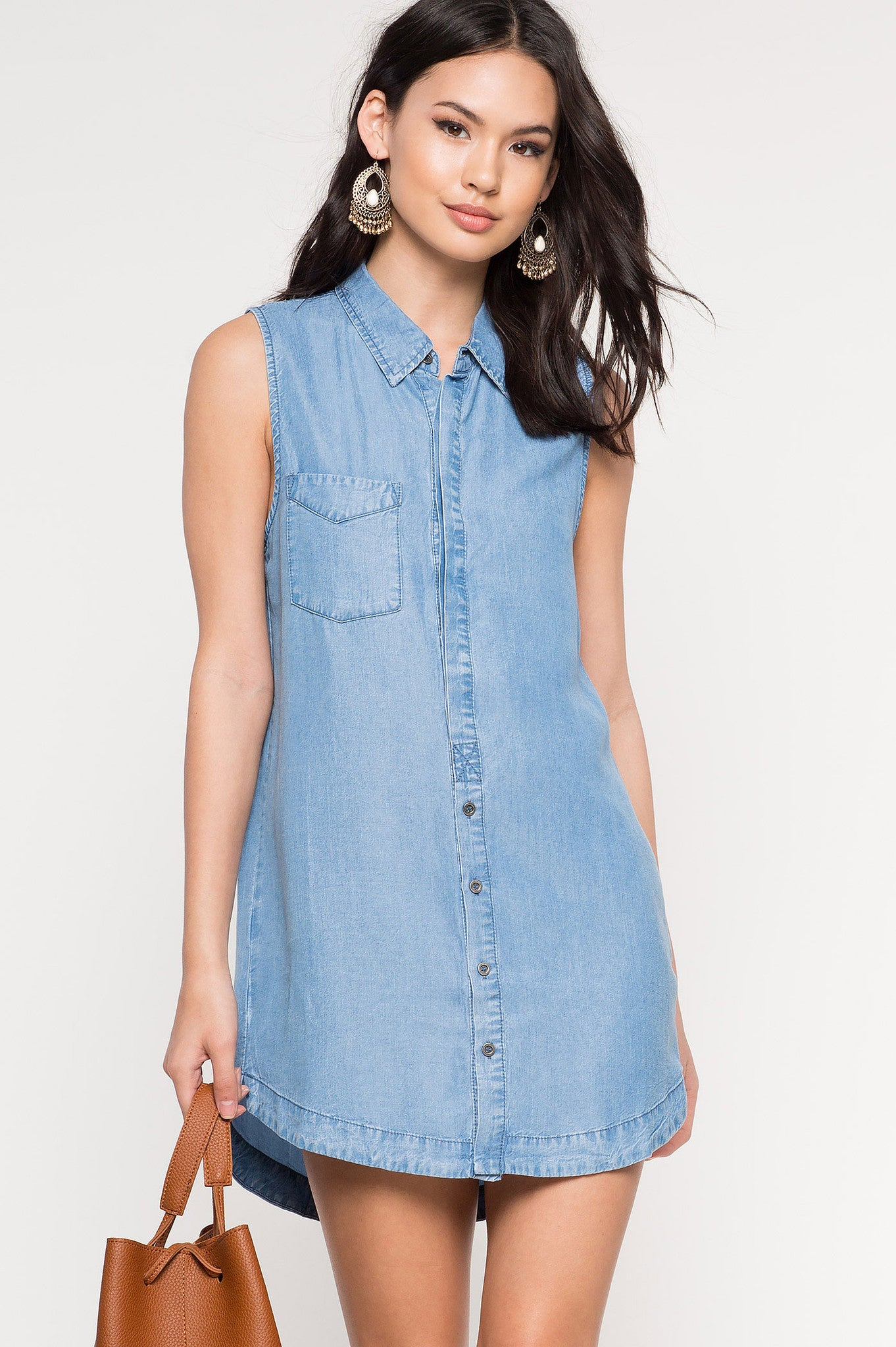 Memdalet women 39 s sleeveless chambray shirt dress for Chambray shirt women