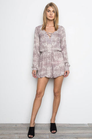 women's long sleeve lace up v-neck casual romper playsuit. Cute summer outfit