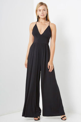 Women's sleeveless deep v-neck casual jersey wide leg palazzo jumpsuit in black