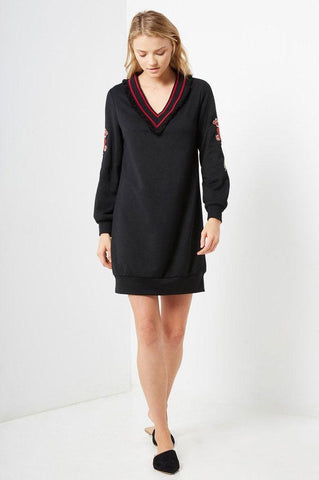women's black long sleeve embellished v-neck mini sweater dress. Casual fall outfit ideas