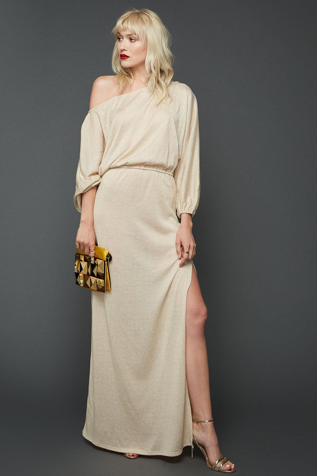 Off the shoulder jersey maxi dress